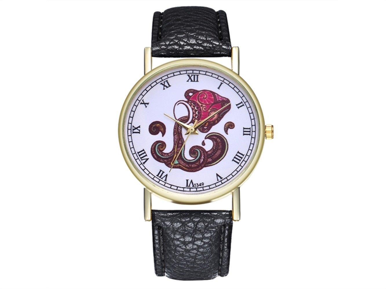 HOUHOUNNPO Reloj de Moda Acuario Zodiac Animal Cartel Cuero Reloj para Mujer Hombre Moda Reloj de Boda Regalo de Cumpleaños: Amazon.es: Deportes y aire ...