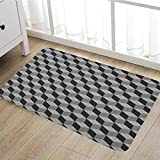 """Black and White door mat outside Monochrome Cube Composition with Abstract 3D Design Optical Illusion Bathroom Mat for tub Non Slip16""""x24"""" Black and White"""