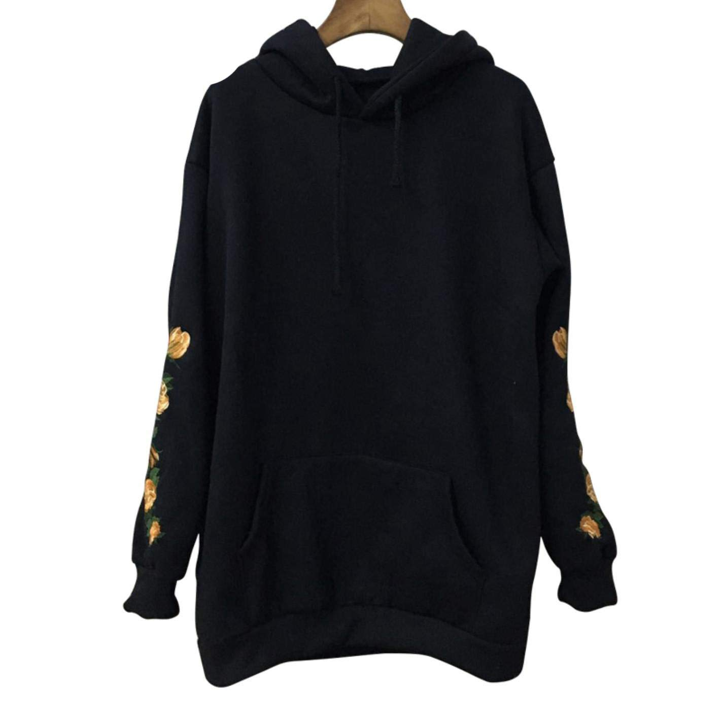 dNepyoDJ Women Embroider Sweatshirt Flower Long Sleeve Big Pocket Fleece Hoodies at Amazon Womens Clothing store:
