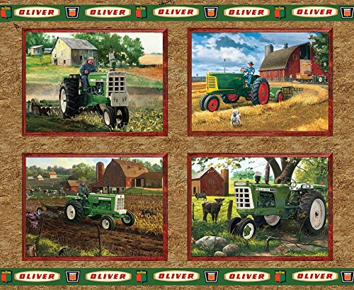 Oliver Tractor Panel Cotton Fabric, Tan (Tan Tractors)