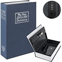 Diversion Book Safe with Combination Lock, Safe Secret Hidden Metal Lock Box,Money Hiding Box,Collection Box Navy Large