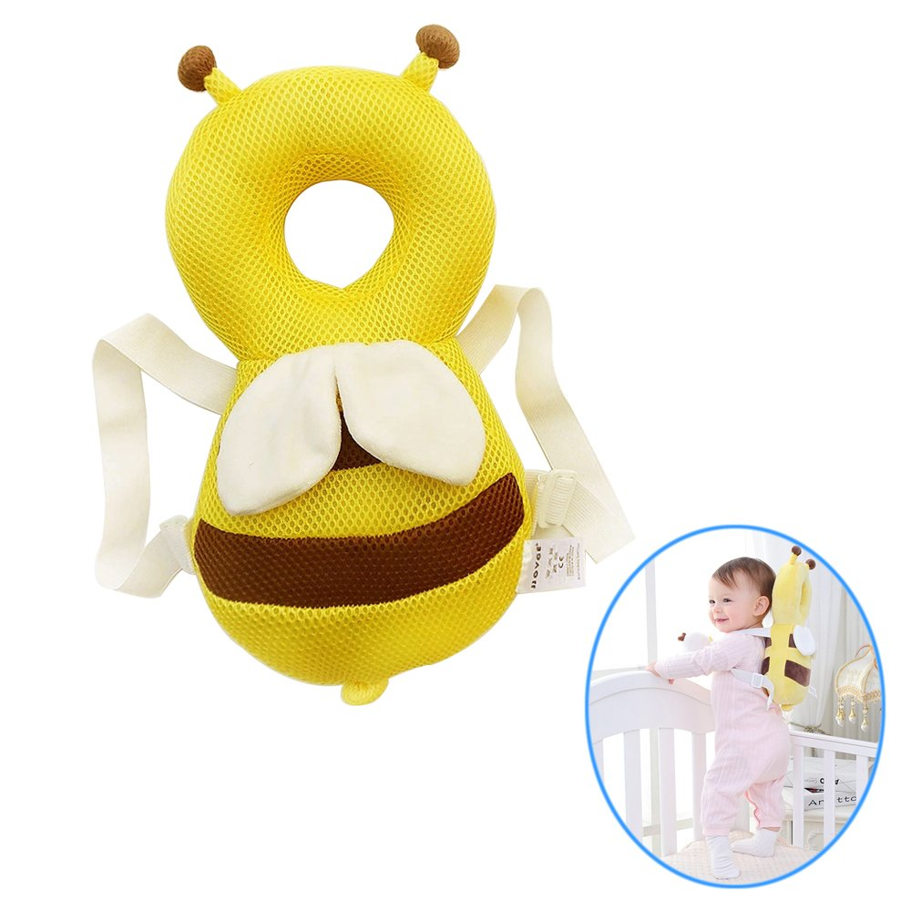 YAKEFJ Baby Toddlers Head Protector,Summer Breathable Adjustable Infant Safety Pads For Baby Walkers Protective Head and Shoulder Protector (yellow)