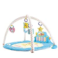 YUGUAN Learning Walker & Baby Game Mat, Multi-Function Kick & Play Piano Gym Play Center Can Be Converted into Baby Learning Walker, Kick and Play Round Mats with Pedal Piano for Infant Toddler