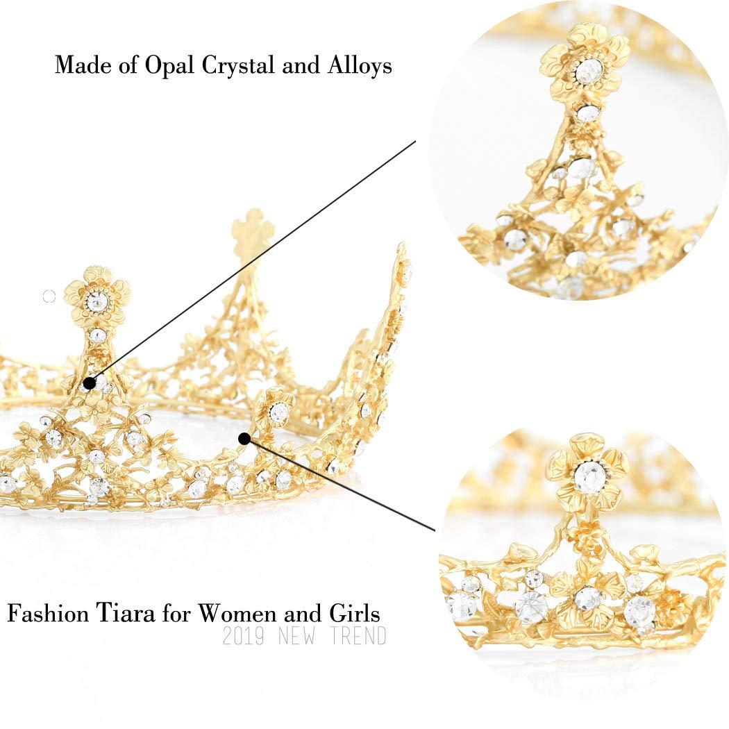 Unicra Gold Vintage Diad/èmes et Couronnes Bandeaux de Mari/ée Mariage Couronnes Reine pour Femmes et Filles