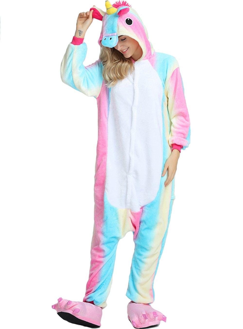 Taiyi Homewear Childrens Unicorn Plush One Piece Onesie Cosplay Animal Costume (12Yrs(height 59''-63''/150cm-160cm), Rainbow Flying Horse)