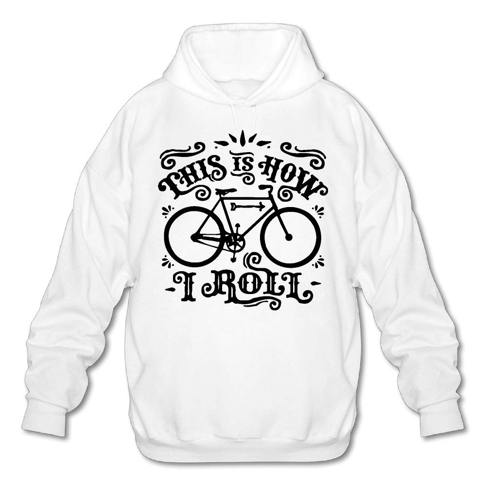QOBPNVGNJHF0 Mens This is How I Roll Bicycle Graphic Fleece Hooded Sweatshirt