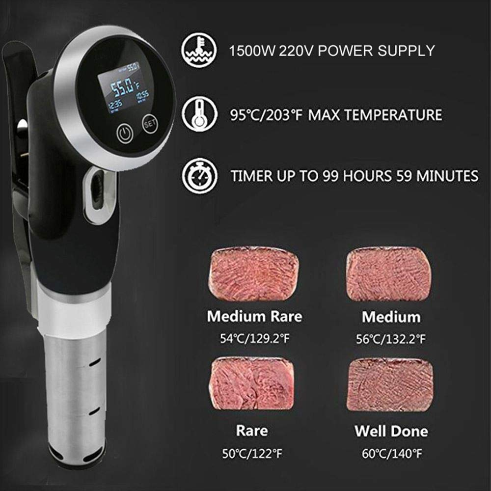 Sous Vide Cooker Immersion Circulator Vacuum Food Cooker with Adjustable Clamp and LCD Digital Touch Display (220V, EU Plug) by TRACONN (Image #5)