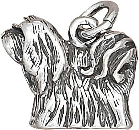 Sterling Silver 7 4.5mm Charm Bracelet With Attached 3D LHASA APSO Pet Dog Breed Charm