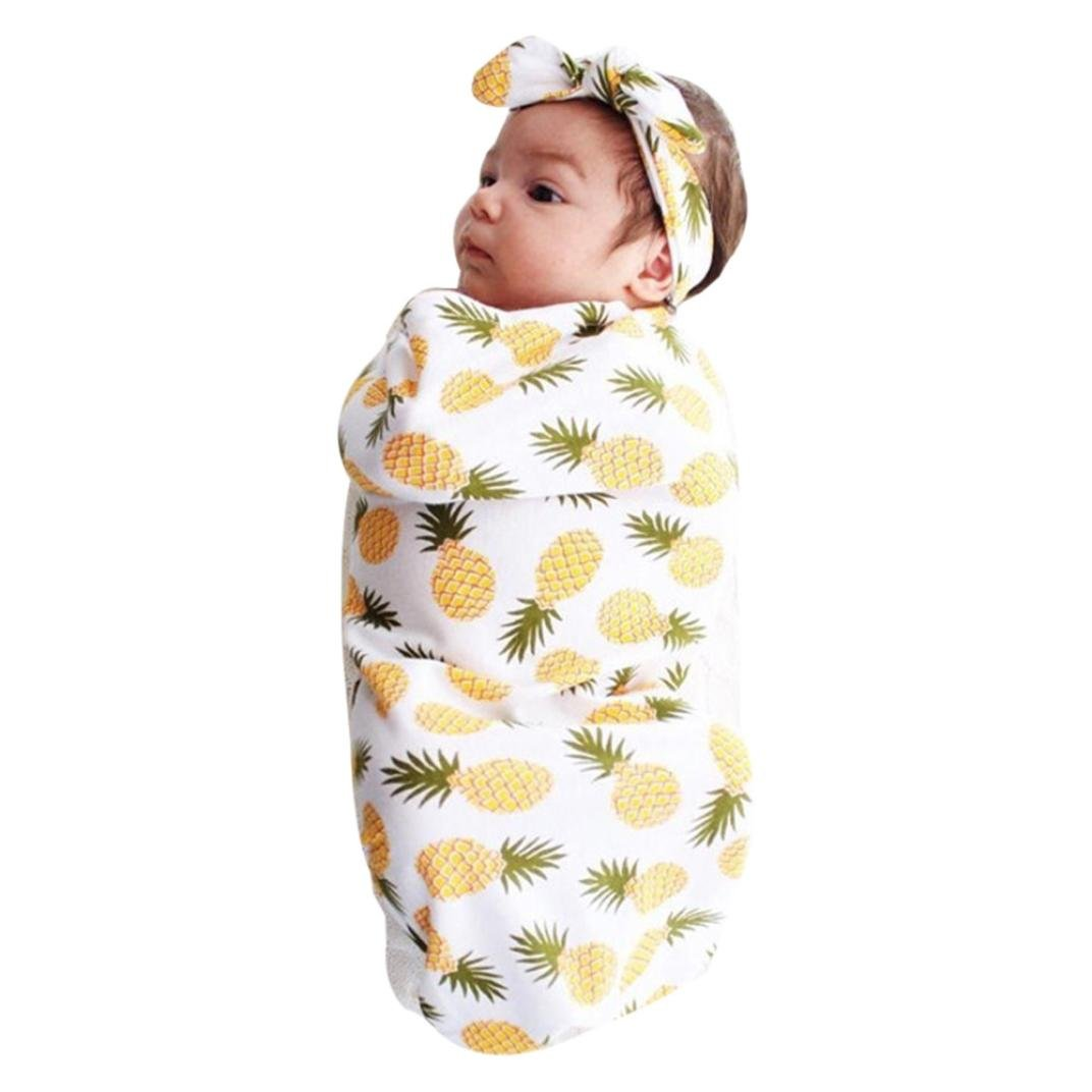 ANBOO Newborn Infant Baby Swaddle Blanket Sleeping Muslin Wrap Headband Set (FREE, Yellow)
