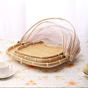 Sdhuamen Bamboo Tent Basket, Household Foldable Food Mesh Cover, Hand-Woven Container Tray Anti Bug Food Serving Tent Basket, for Family Outdoor Camping (B-3 PCS Mixed)