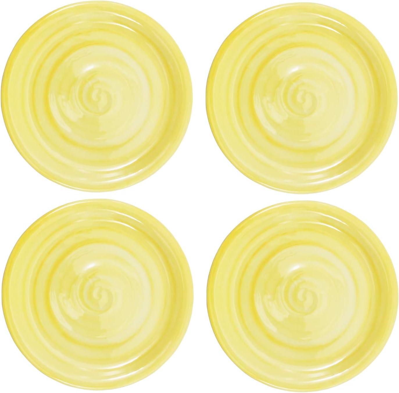 Melamine Plates, 11-inch Dinner Plates set of 4 Yellow, 100% Melamine Dishwasher Safe BPA Free