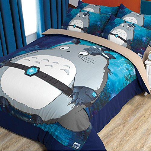Sport do My Neighbor Totoro Series Cartoon Bedding Set,Anime Duvet Cover Set for Kids,Totoro Bed Set-Shrink, Fade and Stain Resistant