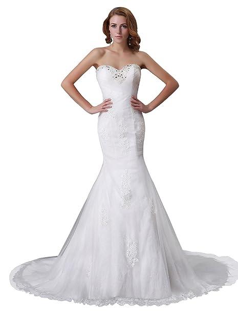 Adasbridal-Impresionante Vestido de novia de tul con escote corazon de la sirena con apliques