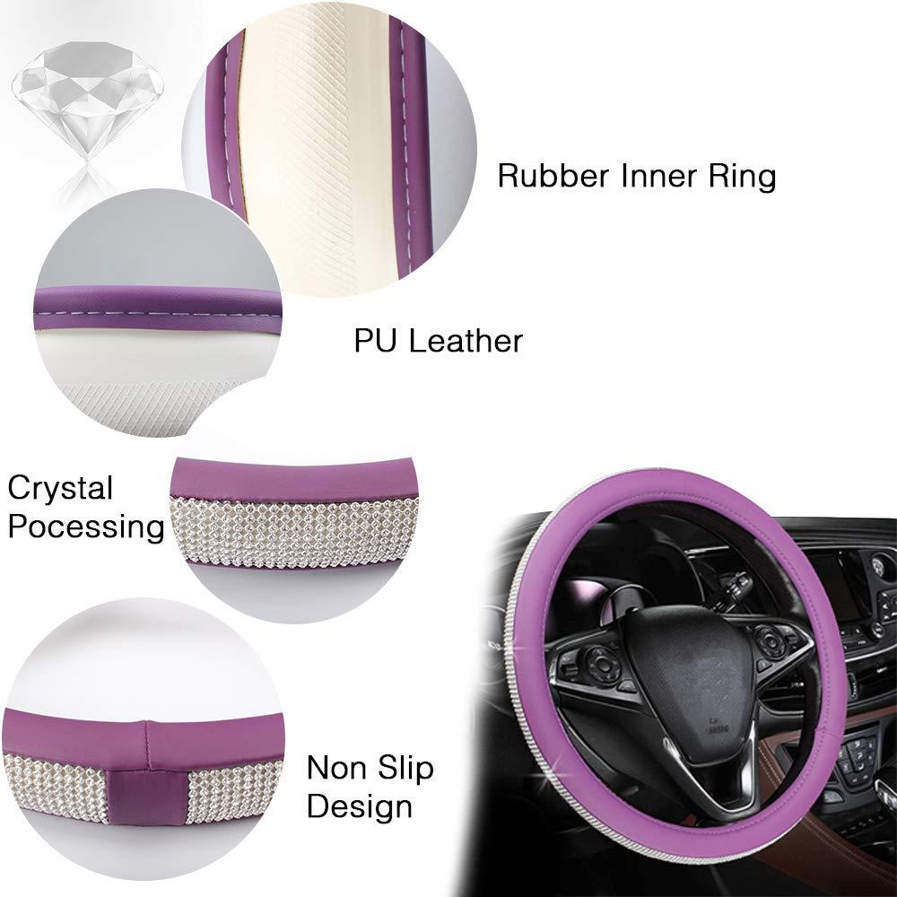 Key Start Ring Crystal Steering Wheel Cover,GES Univeral Rhinestone Diamond Leather Steering Wheel Set 15 Female Anti-skid Wheel Steering Wheel Cover Purple