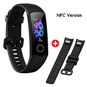 Huawei Honor Band 5 Fitness Tracker AMOLED Color Screen Blood Oxygen TruSleep Monitoring TruSeen 3.0 Real-TIME Heart Rate 50 Meters Waterproof Call Notification Up to 14 Days Battery Life