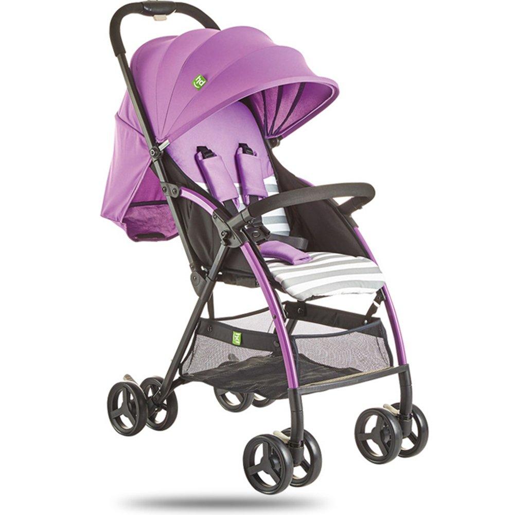 MuMa Cochecito Bebé Carro Puede Sentarse Acostado Ligero Bebé Cochecito De Bebé Cuatro Estaciones Niño Carretilla (Color : Purple)