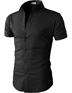 919252896c2c0 H2H Mens Casual Slim Fit Button-Down Dress Shirts Short Sleeves Solid Colors