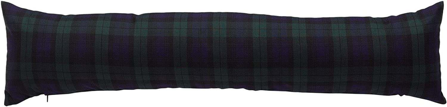 Classic Home Store Black Watch Tartan Check Draught Excluder French Patio Door Long Draft Stopper with Handle (3 ft)