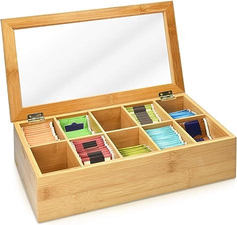 Navaris Caja de Madera para bolsitas de té - Caja organizadora de bambú para infusiones - Caja con Tapa - 10 Compartimentos - Ventana Transparente: Amazon.es: Hogar