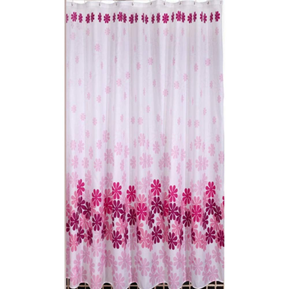 Amazon Polyester Waterproof Mildew Resistant Shower Curtain Liner Pink Peach Flower Curtains Home Kitchen