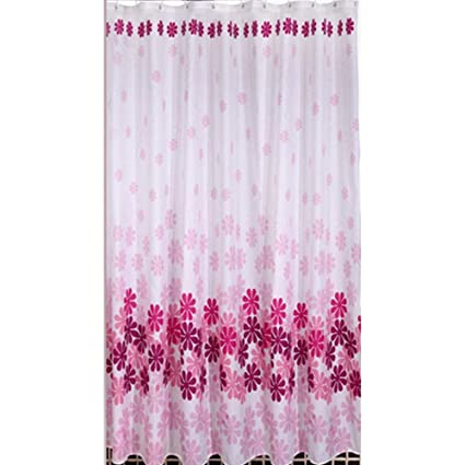 Polyester Waterproof Mildew Resistant Shower Curtain Liner Pink Peach Flower Curtains