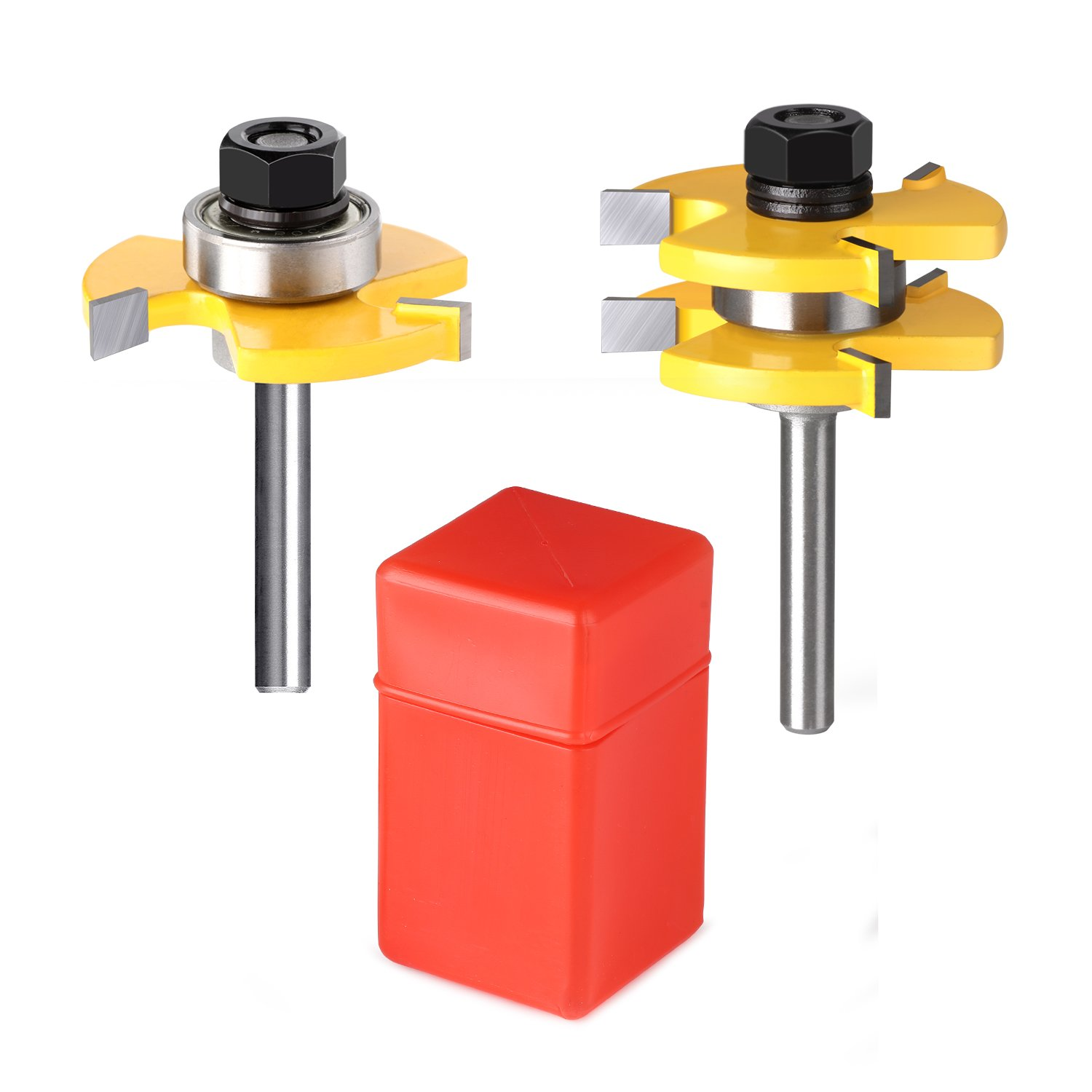 2PCS Tongue and Groove Router Bit, Grooving Router Bit, 3 Teeth Adjustable Tenon Cutter with 1/4'' Shank Wood Milling Saw Cutter Woodworking Tools