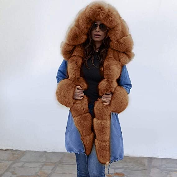 KEYIA Womens Coat Faux Fur Winter Jacket Parka Hooded Thick Loose Fishtail Warm Overcoat