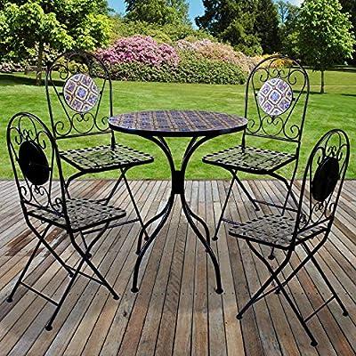 Marko Outdoor - Juego de 5 sillas Plegables de Mesa Redonda, para Exteriores, jardín, Patio, cafetería, Comedor al Fresco: Amazon.es: Hogar
