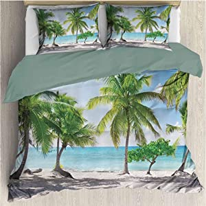 Waynekeysl Beach Microfiber Duvet Set, Palm Leaves and Catalina Island Seashore Coastal Panoramic Picture, Decorative 3 Piece Bedding Set with 2 Pillow Shams, Full Size, Blue Ivory Green
