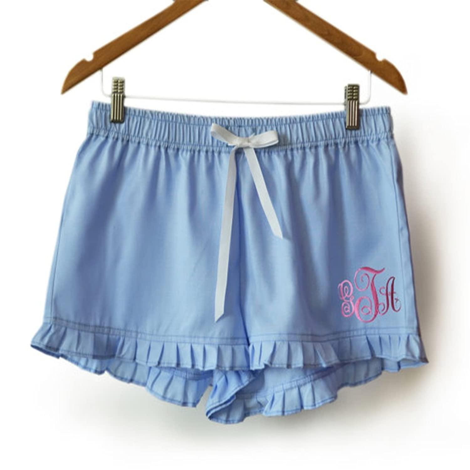 Amore Beaute Handcrafted Customizable Blue Cotton Monogrammed Shorts