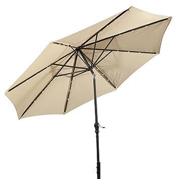 Giantex 10u0027Patio Solar Umbrella LED Aluminum Patio Market Umbrella Tilt W/  Crank Outdoor