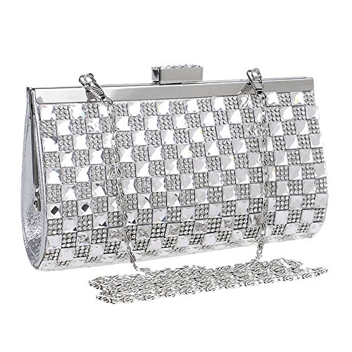 Handbags Clutches Rhinestone and Square Girls Shape Bags Evening Purses Womens Crystal Silver Diamond xgTYZq4wyc