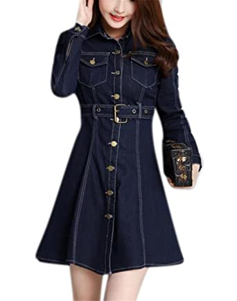 21b3ee602b6 Image Unavailable. Image not available for. Color  GESELLIE Women s Elegant  Long Sleeve Belted Lapel Short Mini Swing ...