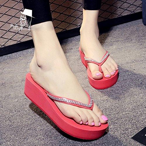 Mujeres Señoras Sandalias Sandalias de la personalidad de la playa del fracaso de tirón de los altos talones del verano (negro / azul / Brown / color de rosa) Cómodo ( Color : Marrón , Tamaño : 35 ) Pink
