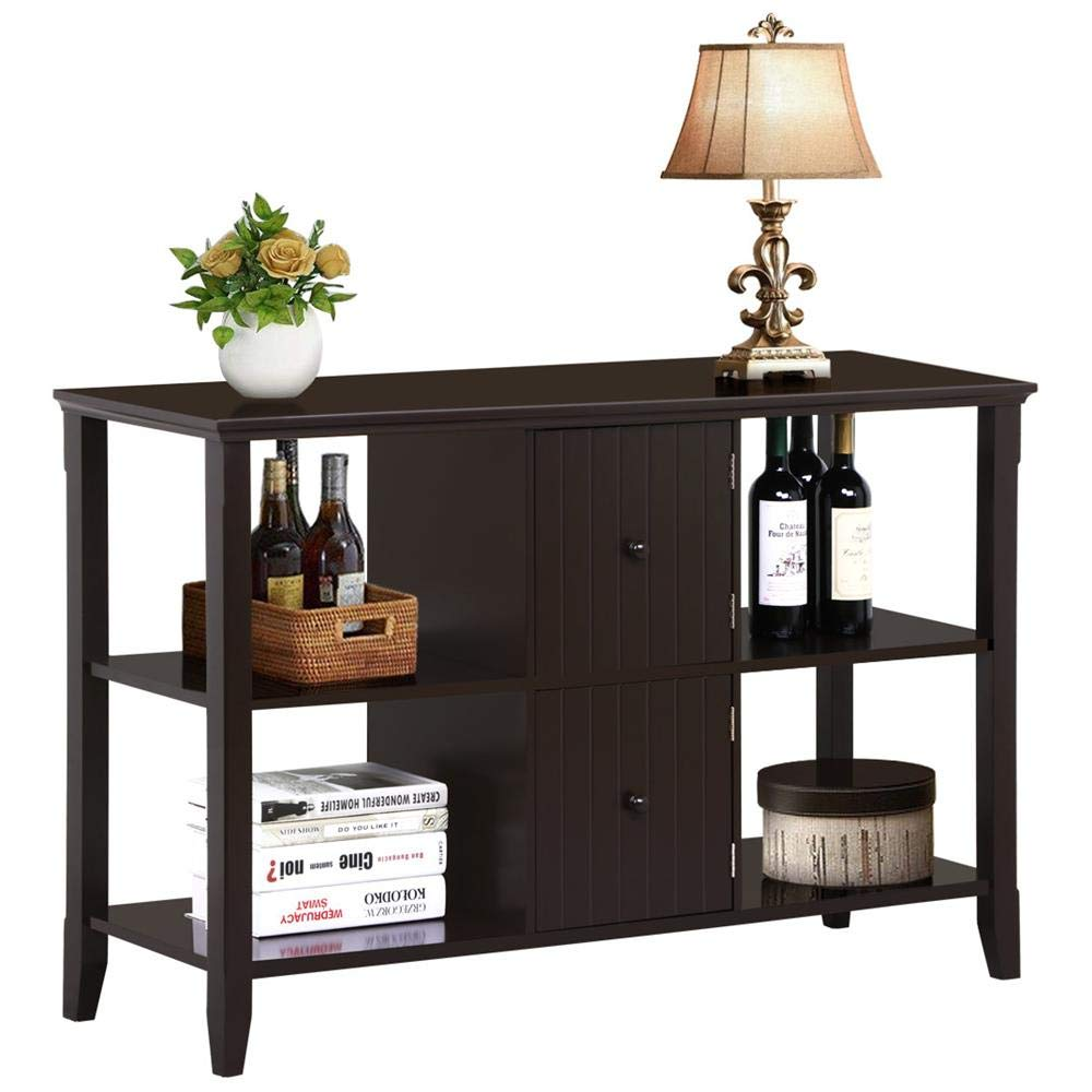 Yaheetech 3 Tier Solid Wood Buffet/Sideboard Table Console Sofa Table w/2 Grooved Cubby Storage Espresso Finished