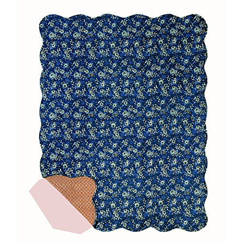 C&F Home 50x60 Inches Quilted Throw, Asheville, Reversible Blue, Gold (Gold Quilted Throw)