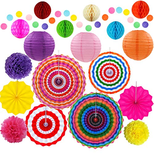 Cinco De Mayo Decorations, Fiesta Theme Party Supplies-Tissue Pom Paper Lantern Flowers for Mexican Carnival Rainbow Wedding Birthday Christmas (Set of 20) ()