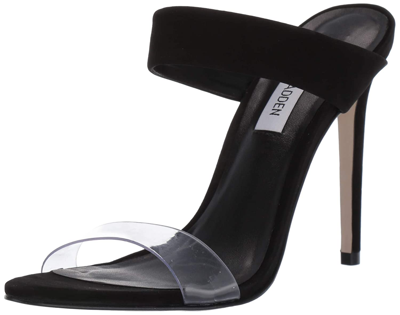 Black Nubuck Steve Madden Womens Amaya Heeled Sandal