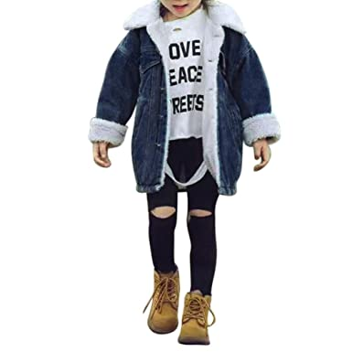 685c746ca36a Amazon.com  Raptop Baby Girl Kid Boy Winter Buttons Jeans Denim Coat ...