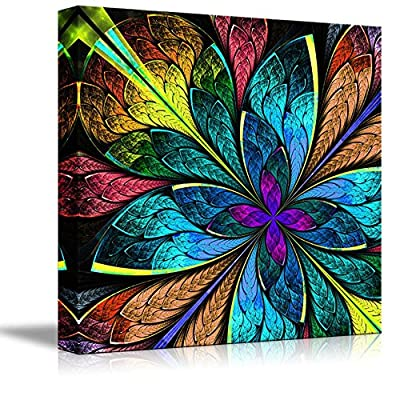 Canvas Prints Wall Art - Beautiful Multicolor Abstract Flower | Modern Wall Decor/Home Art Gallery Wraps Giclee Print & Wood Framed. Ready to Hang - 24