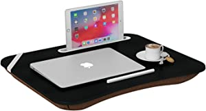 HOME BI Portable Lap Desk Laptop Table Tray Bed Table with Handle, Phone Holder, Built-in Laptop Stop Bar, Pillow Foam Cushion,18.5L x 14.96W x 2.17H Inch, Black