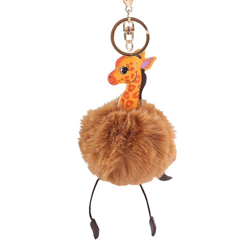 Gbell Puffy Pom Pom Ball Key Chains for Girls Backpack Schoolbag Pencil Case Purse Charm Pendant -Cute Giraffe Fluffy Pompom Keychain for Girls Toy Gifts,1Pcs 10 cm (Khaki)