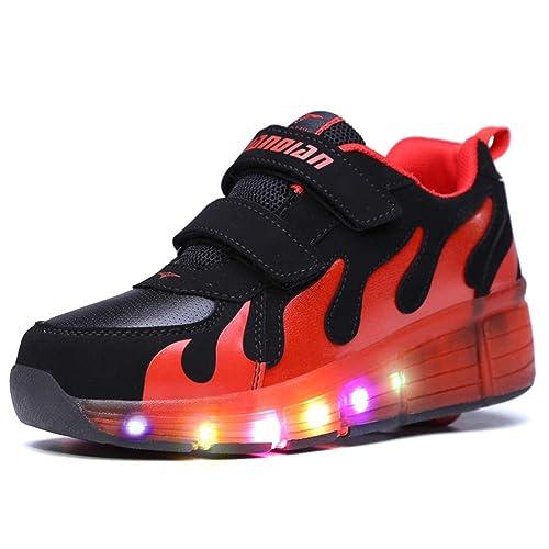 Yundac LED Zapatillas con Una Rueda Deporte Patín Ruedas Intermitente Zapatos para Niño Adulto Negro Rojo 39 EU: Amazon.es: Zapatos y complementos