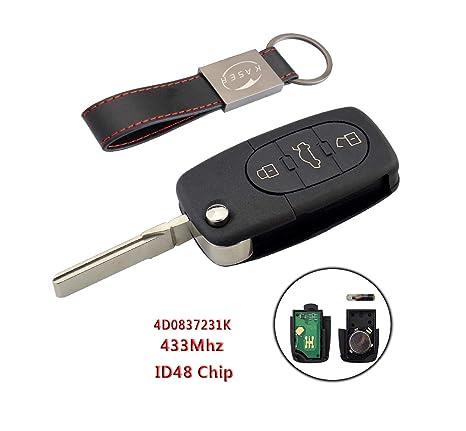 Llave para Audi con Tarjeta Electrónica – 3 Botones para A1 A3 A4 A6 A8 Q3 Q5 TT (433MHz ID48 Chip 4D0837231K) Transponder Mando a Distancia Coche con ...