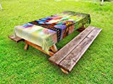 Ambesonne Spa Outdoor Tablecloth, Stones with Candles Spiritual Eastern Yoga Relaxation Meditation Chakra Bamboos Print, Decorative Washable Picnic Table Cloth, 58 X 120 inches, Multicolor