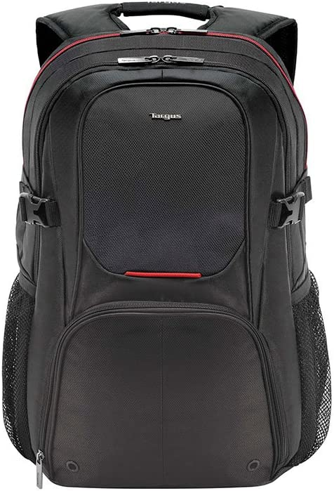 Targus Metropolitan Advanced Travel and Commute Backpack with Protective Storage for up to 15.6-Inch Laptop and Tablet, Black/Red (TSB917US)