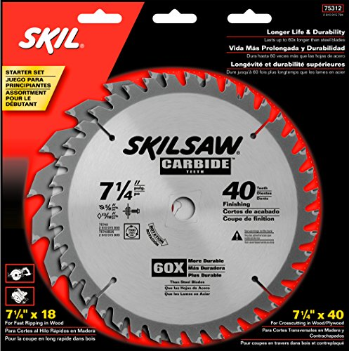 Friction Saw Blades - SKIL 75312 7-1/4-Inch Saw Blade Combo Pack with 18 Tooth Crosscutting and Ripping Blade and 40 Tooth Finishing Blade, Pack of 2