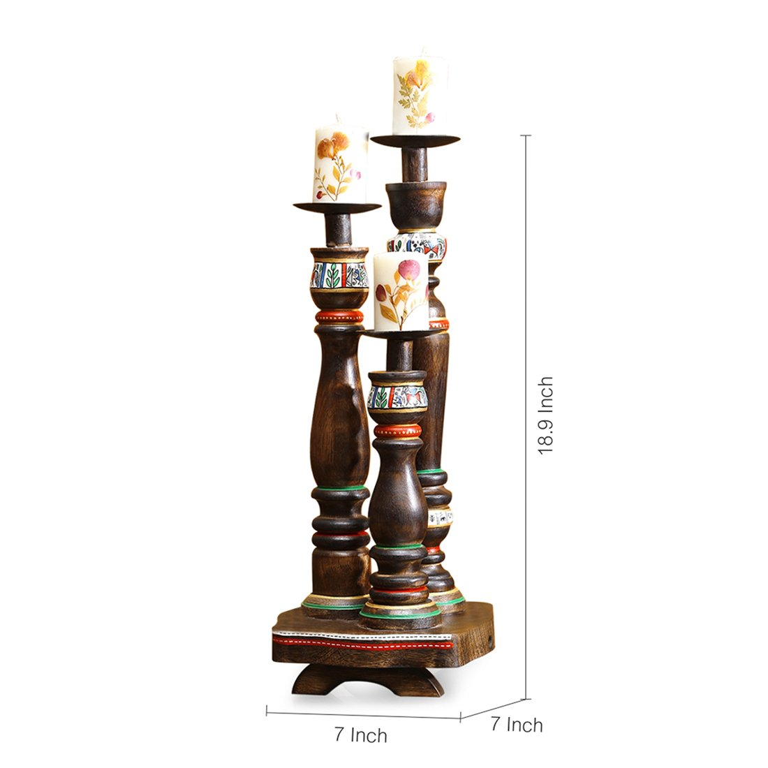 ExclusiveLane 'Candle Minarets' Warli Hand-Painted Candle Holders In Wood -Candle Holders Votive Candle Holder Tealight Candles Tea Light Home DÃcor T Light by ExclusiveLane (Image #4)