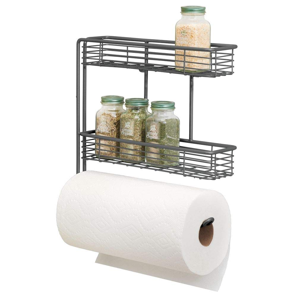 mDesign Wall Mount Metal Paper Towel Roll Holder and Dispenser with 2 Shelf Baskets - Kitchen Storage and Organization for Spice Bottles, Glass Jars, Salt, Pepper - Graphite Gray