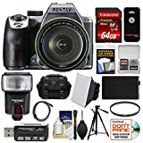 Pentax K-70 All Weather Wi-Fi Digital SLR Camera & 18-135mm WR Lens (Silver) with 64GB Card + Case + Flash + Battery + Tripod + Filter + Kit For Sale